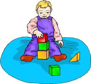 Illustration showing toddler with building bricks