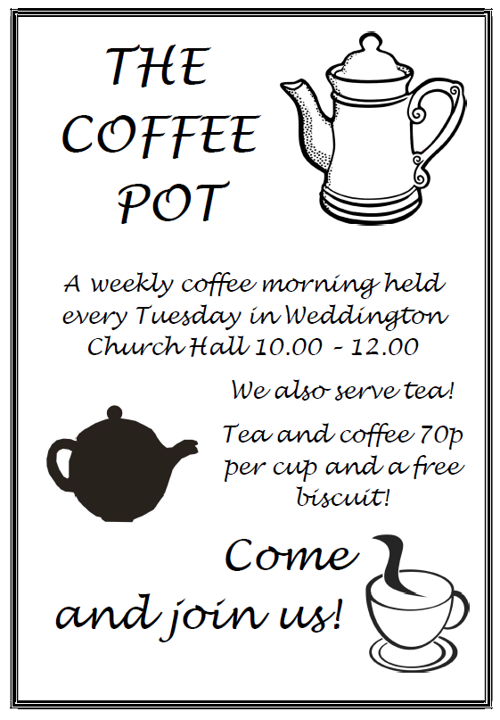 Illustration showing Coffee Morning poster