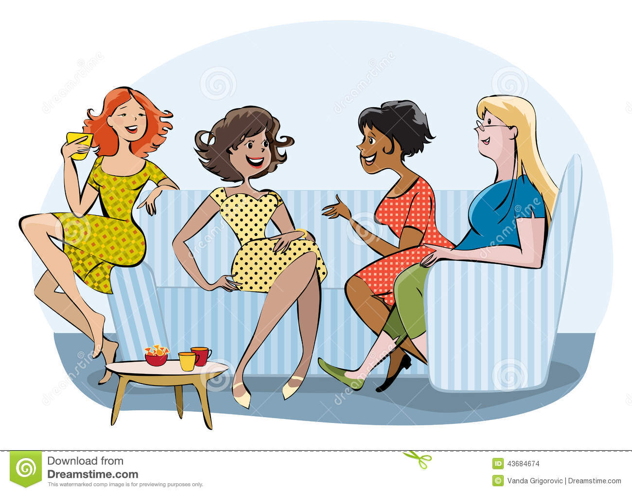 Illustration showing group of ladies chating
