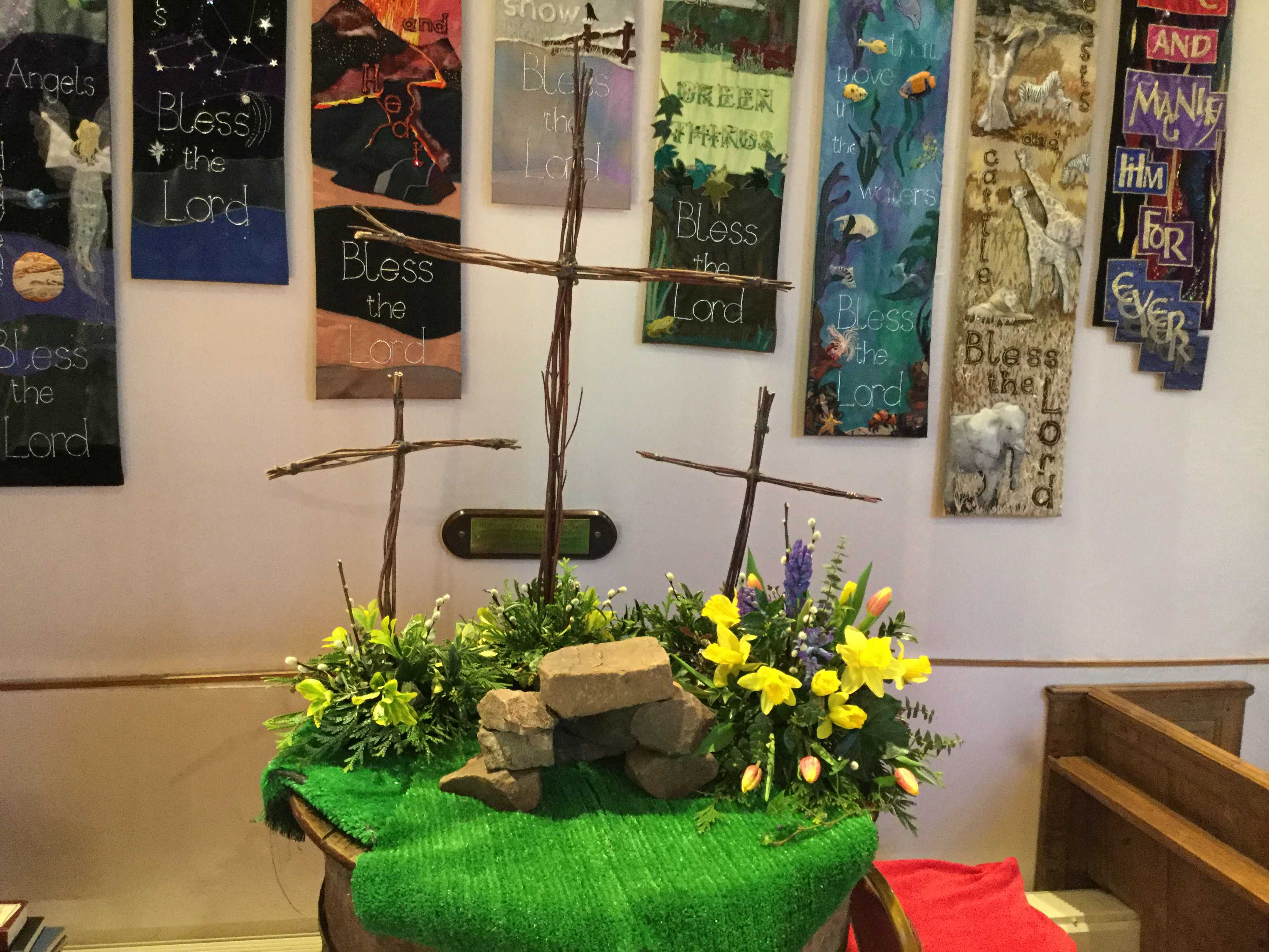 Easter Flower display around and empty tomb
