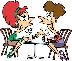 Cartoon illustration showing two women gossiping